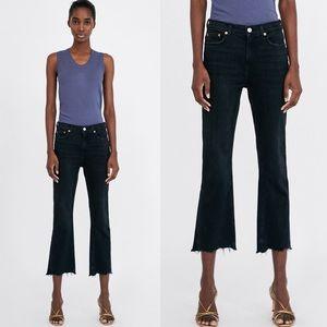 Zara boot cut cropped jeans black